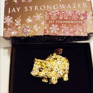 Jay Strongwater Blossom Gold Floral Pig Ornament